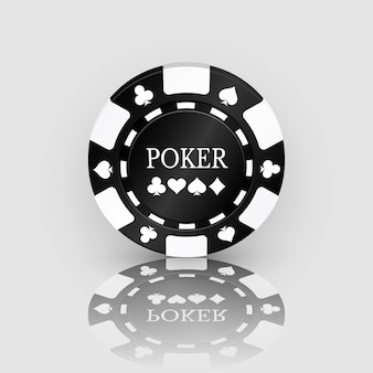 Black casino chip icon with reflection. casino chip