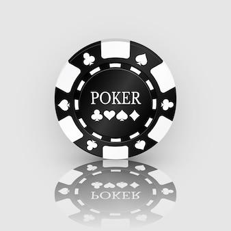 Черный значок фишки казино с отражением. фишка казино