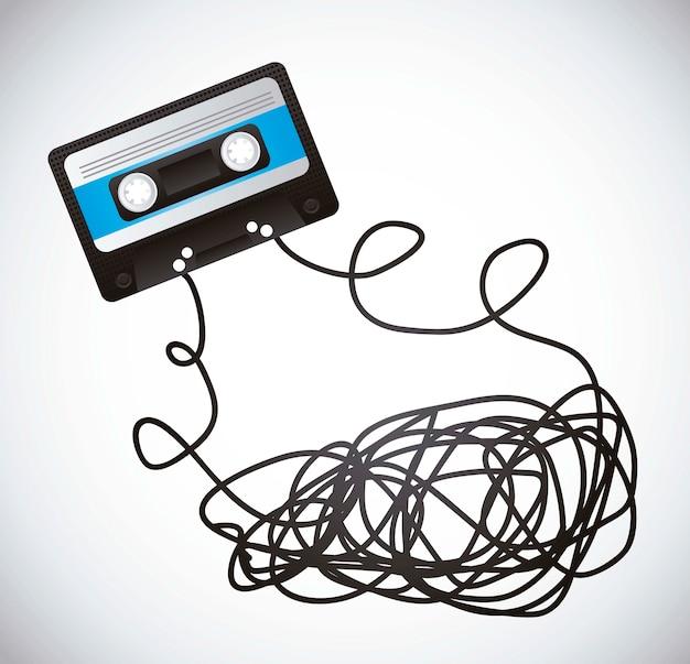 Black cassette with tape over gray background vector illustration