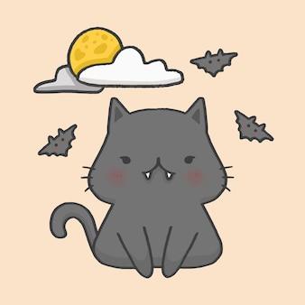 검은 고양이 박쥐 할로윈 손으로 그린 만화 스타일 벡터