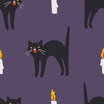 黒猫とキャンドルのシームレスなパターン