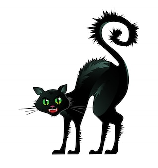 Black cat arching back illustration. pet, terror, fear. halloween concept.