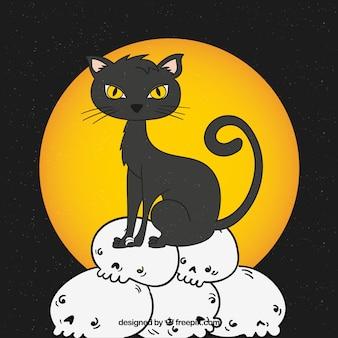 Sfondo di gatto nero con teschi disegnati a mano