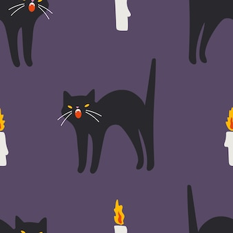 Black cat and candles seamless pattern