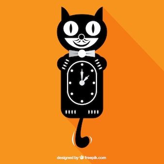 Черная кошка часы