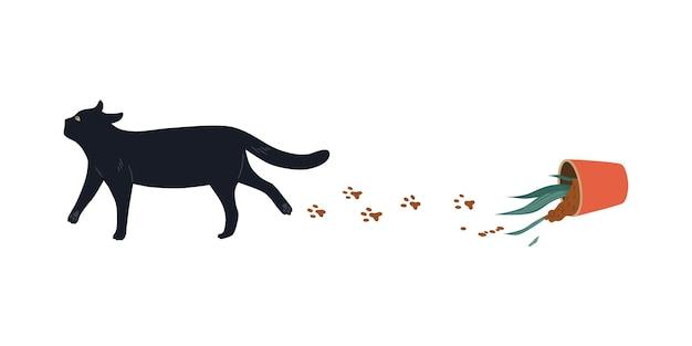 Черный кот уронил горшок с цветком. векторный дизайн персонажей милые домашние животные. иллюстрации шаржа