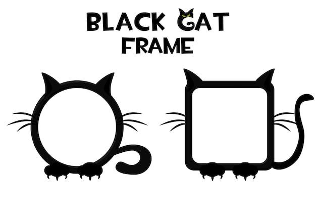Рамка черная кошка, хэллоуин круглый и квадратный аватар для пользовательских игр. векторные иллюстрации мультфильм рамка для графического интерфейса.