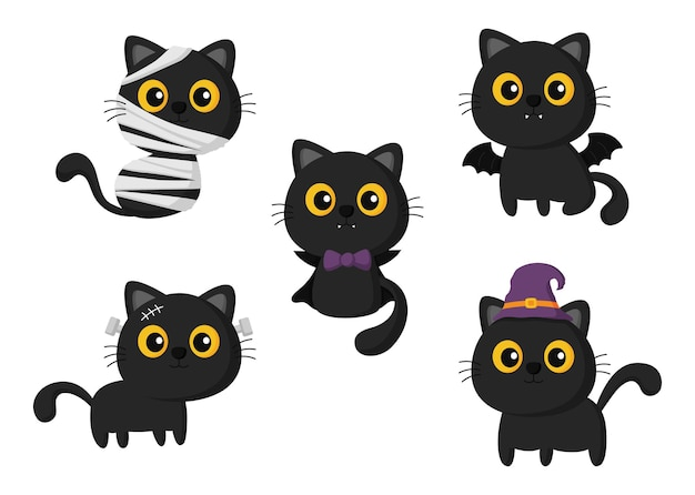 Black cat in halloween costumes set isolated on white background