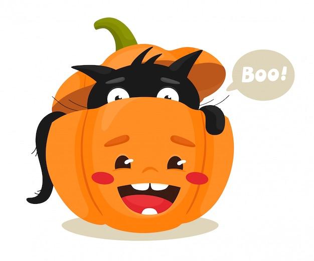 Black cat in halloween pumpkin. happy halloween. illustration in flat cartoon style.