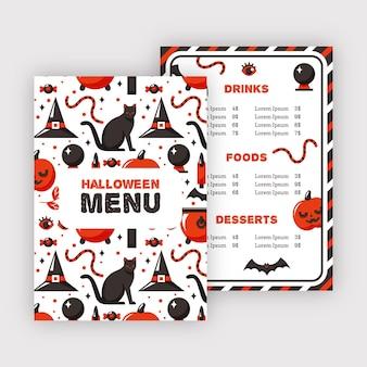 Modello del menu del ristorante di halloween del gatto nero