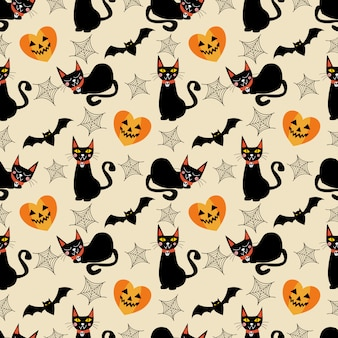 Black cat and halloween symbols seamless pattern.