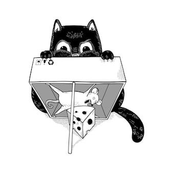 쥐를 사냥하는 검은 고양이 재미있는 쥐가 치즈를 훔친다 상자 모양의 덫