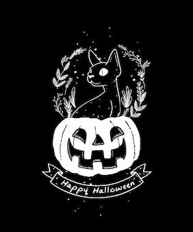 Black cat illustration. happy halloween pumpkin and black cat illustration.