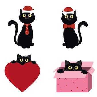 Черный кот в новогодней шапке.
