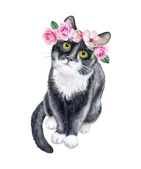 Черная кошка в цветочном венке. корона с розами. акварель