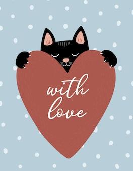 Черная кошка в любви с большим сердцем на фоне надписи в горошек с любовью день святого валентина