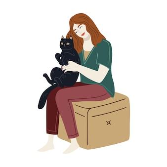 Черная кошка сидит на коленях у девушки. векторный дизайн милый характер. счастливые владельцы домашних животных