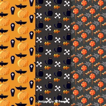 Black cat and raven watercolour halloween pattern collection