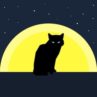 Черный силуэт кошки против луны. тема природы и животных. плоский стиль.