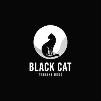 검은 고양이 실루엣 우아한 고양이 앉아 측면 보기