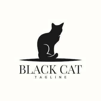 Черный кот силуэт логотипа шаблон