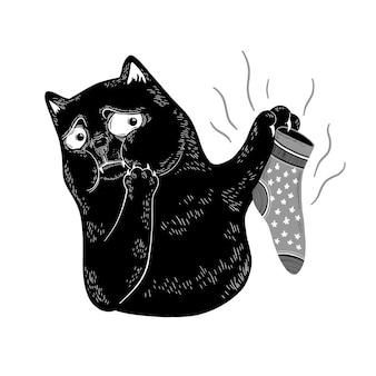 검은 고양이는 양말의 역겨운 냄새를 맡습니다. 재미있는 만화 캐릭터