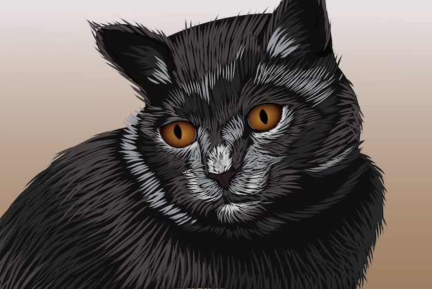 멀리보고 갈색 눈을 가진 검은 고양이 현실적인 손 그리기