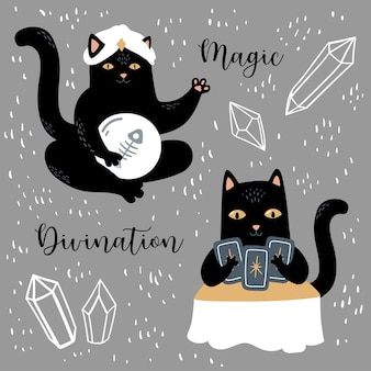 Черная кошка с кристаллами ortuneteller магия и гадание набор символов колдовства и оккультизма