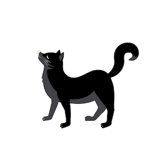 Черная кошка с загнутой спиной и поднятым хвостом. праздничное украшение животных на хэллоуин, осенний праздник и дизайн