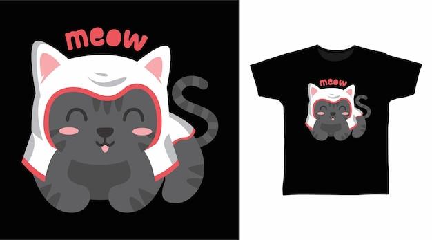 모자 tshirt 디자인으로 검은 고양이