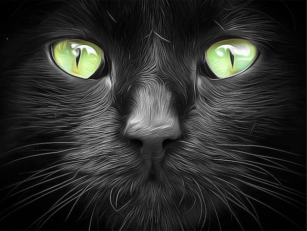 라임 녹색 눈 벡터 일러스트와 함께 검은 고양이