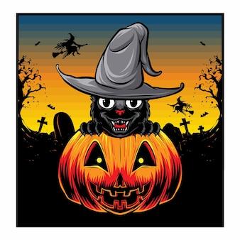 Черная кошка с тыквами хэллоуин вектор