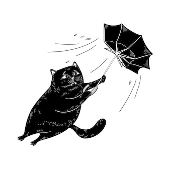 Black cat with umbrella resists wind and storm bad weather