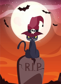 Black cat with wizard hat in cemetery scene