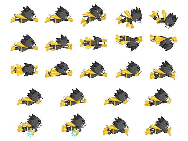 Black cat with yellow cape game sprites