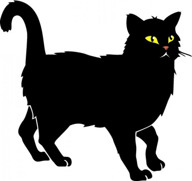 Black cat with yellow eyes vector