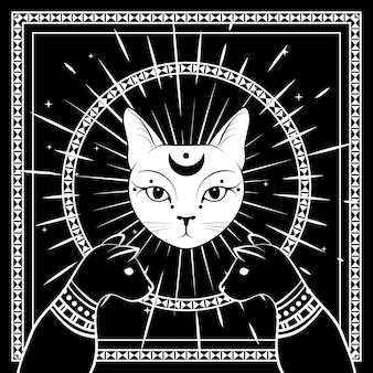 Black cats, cat face with moon on night sky with ornamental round frame. magic, occult symbols. witchcraft illustration.