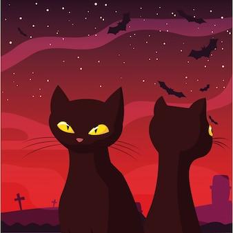 Black cats happy halloween celebration