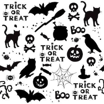Черные кошки тыква хэллоуин предметы бесшовные модели