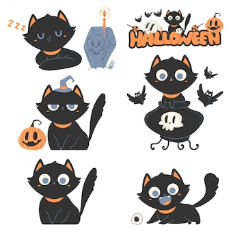 Black cats vector cartoon cute pets characters set for halloween isolated.