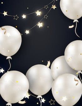 Black celebration background with white pearl balloons, garland, lights, gold serpentine, sparkles, confetti.template for birthday card, invitations, poster for sales, black friday promotions. .