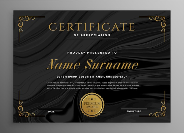 Black certificate template for multipurpose use
