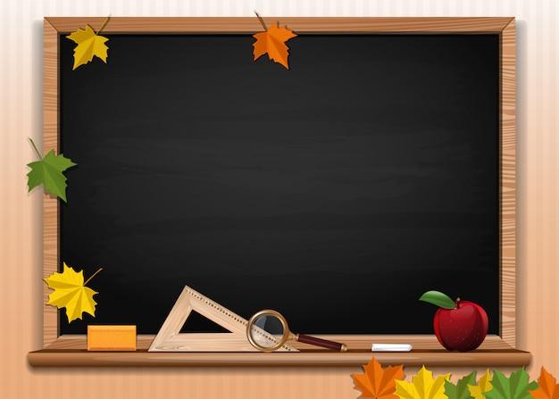 Black chalkboard background. back to school card design. empty blackboard. illustration