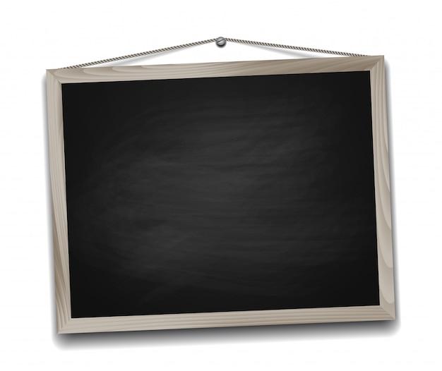 Черная классная доска в деревянной рамке. снова в школу
