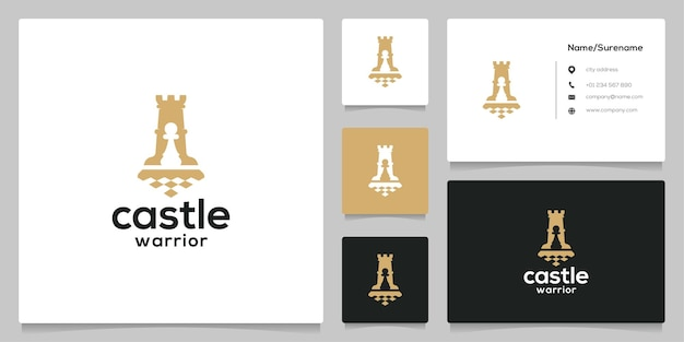 Black chess castle negative space sport silhouette logo design with business card