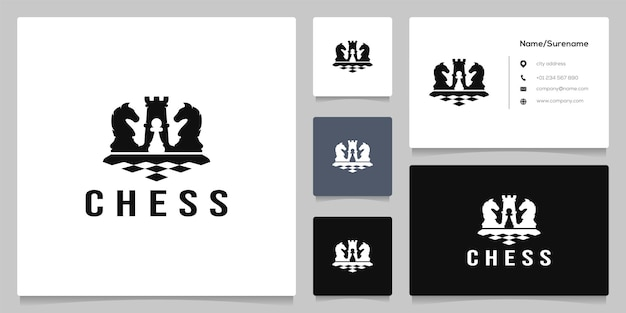 Black chess figure competition sport strategy silhouette logo design with business card