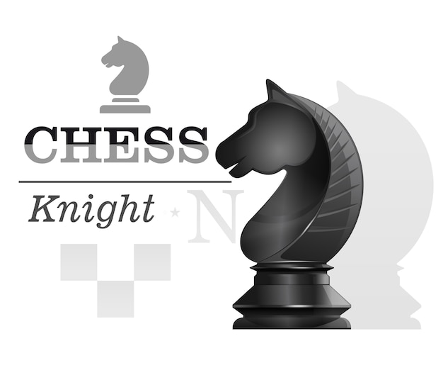 Black chess knight on the background of the chessboard silhouette. chess concept design.  illustration