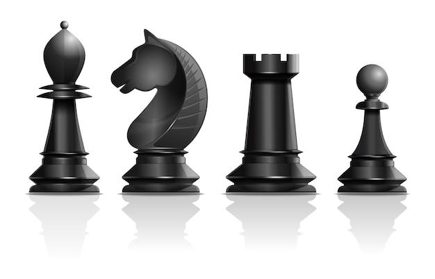Черные шахматные фигуры слон, конь, ладья, пешка. набор шахматных фигур. шахматный концептуальный дизайн. реалистичные иллюстрации, изолированные на белом фоне