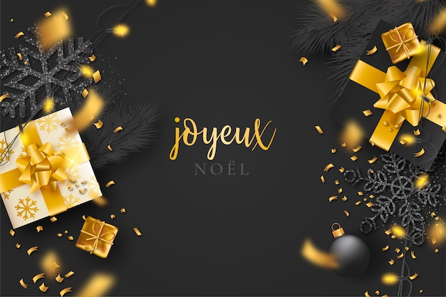 Black christmas background with confetti and golden presents