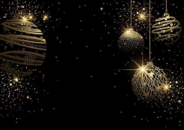 철망과 골드 반짝이에서 황금 크리스마스 공과 블랙 크리스마스 배경